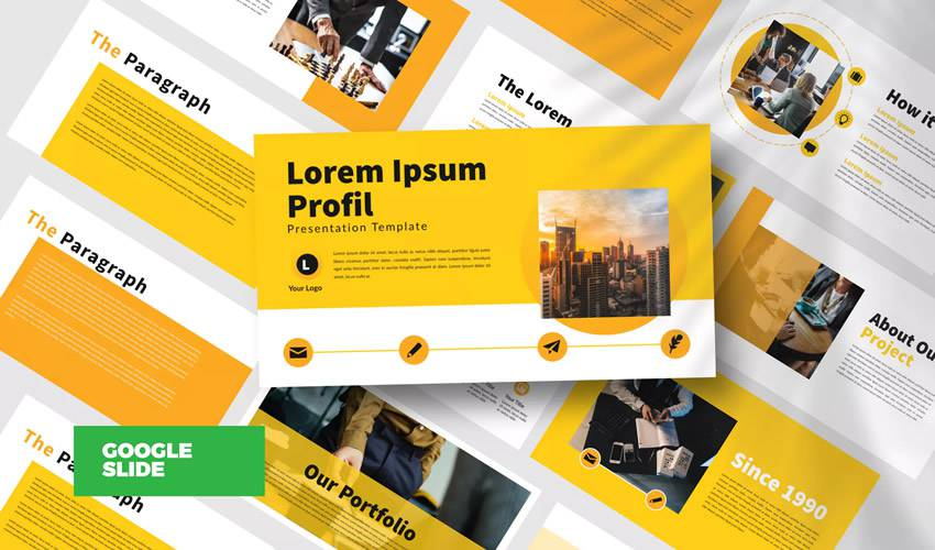 Yellow Bussiness business google slides theme presentation template