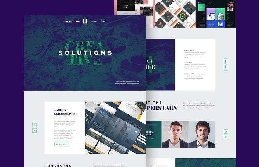 Agency Landing Page web design layout adobe photoshop template free psd format