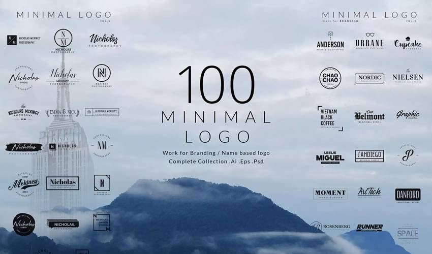 100 minimal ai eps illustrator psd photoshop logo template brand collection pack