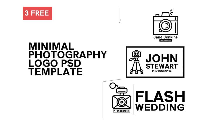 Photography minimal psd photoshop free logo template brand collection pack