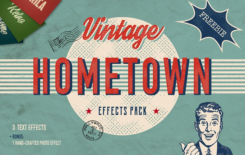 Photoshop Layer Styles PSD Free Hometown Vintage Text Effects