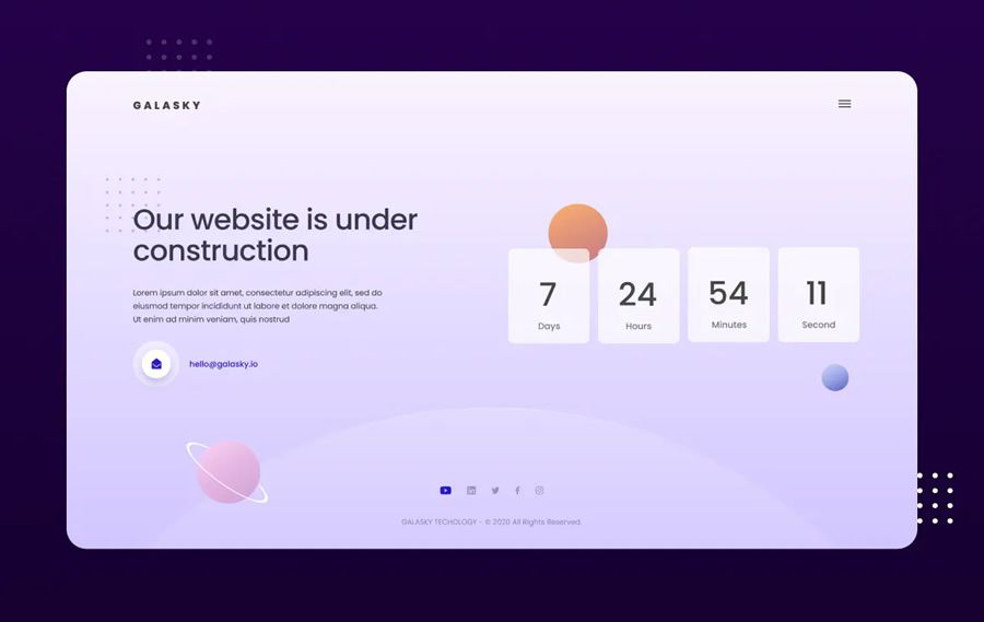 Under Construction Figma Photoshop Website Template coming soon page web design inspiration
