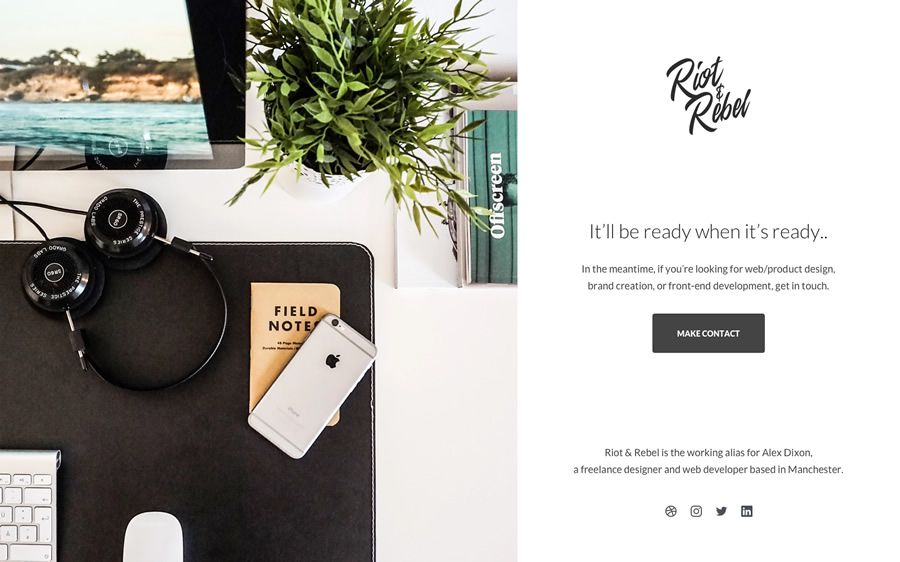 Riot Rebel Minimal Holding coming soon page web design inspiration