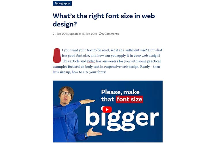 Example from What's the right font size in web design?